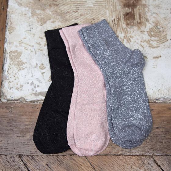 Triptyque de chaussettes à paillettes